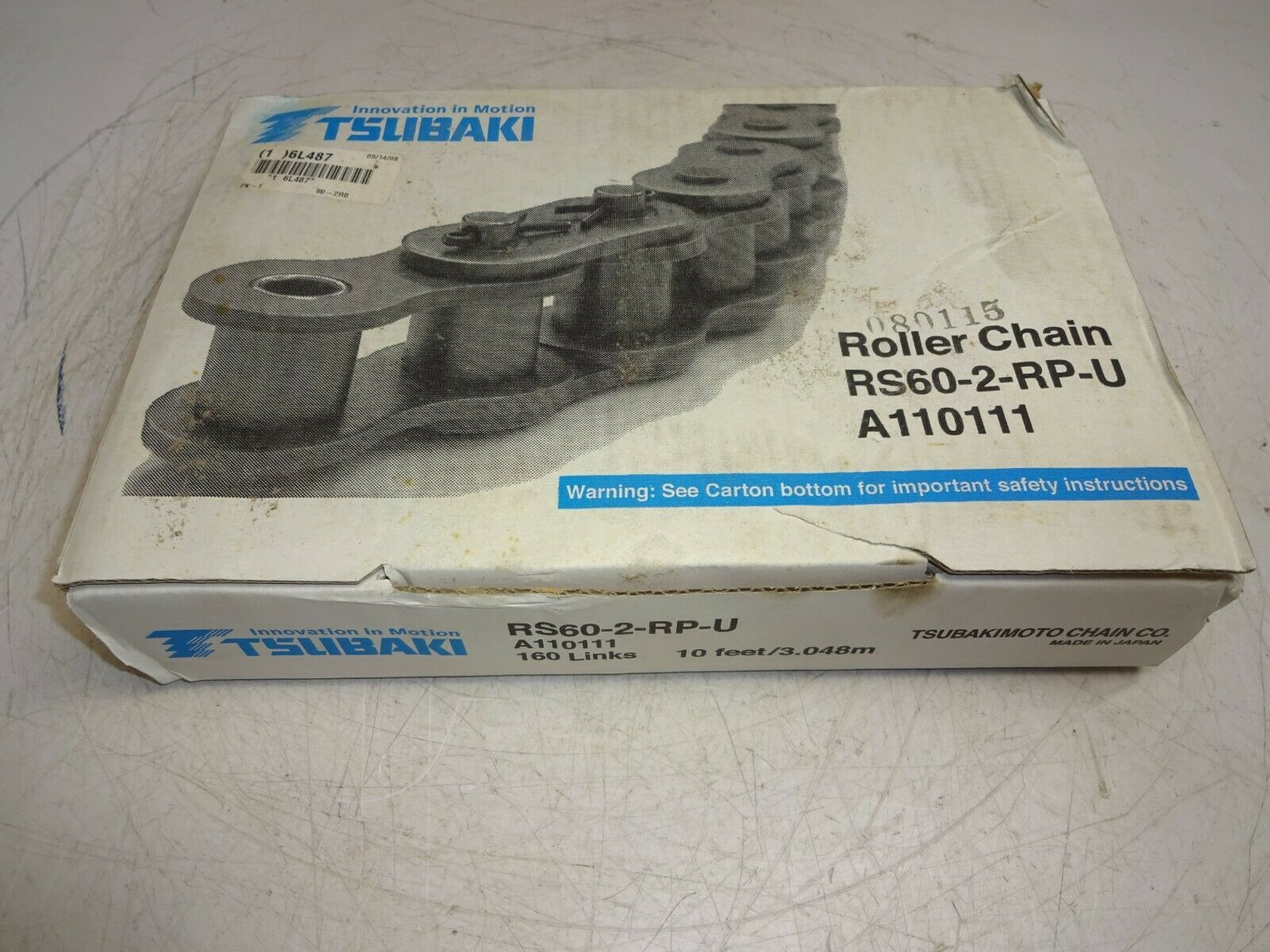 Tsubaki Rs60-2-rp-u Roller Chain 10ft 160 Links RS602RPU