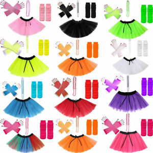 NEW-KIDS-ADULTS-NEON-UV-1980s-GIRLS-FANCY-DRESS-HEN-PARTY-TUTU-COMPLETE-SET-8-16