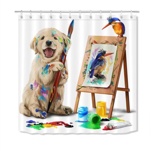 Puppy Drawing Birds Waterproof Fabric Shower Curtain Set Bathroom Accessory Hook