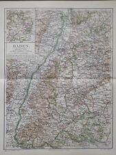 Landkarte Deutschland, Baden, Mannheim, Karlsruhe, Strassburg, Meyer 1896