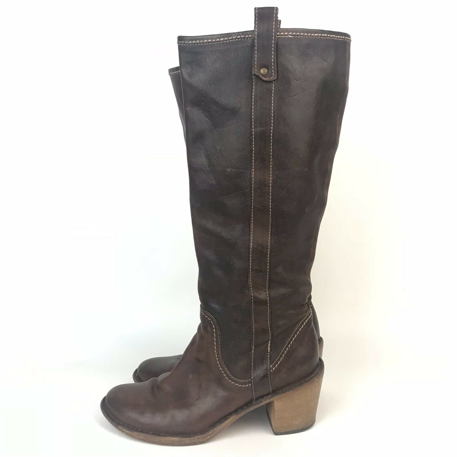 Florentini + Baker Womens Size 7 7 7 Brown Leather Pull On Stacked Heel Boots 7c7713