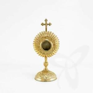 2687-Reliquary-Reliquiar-Monstrance-Altar-for-CHURCH-or-Home-Brass-17cm-Gold-pl