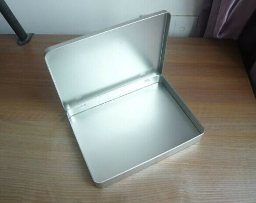 1 PC Metal Silver Square Tin Box Storage Card Envelop Invoice Container with Lid