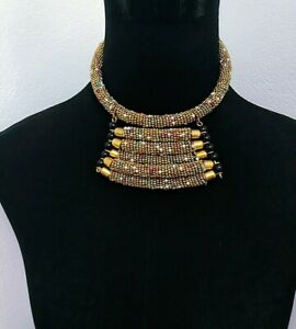 African-Handmade-Maasai-Beaded-Necklace-pendant-white-gold-New