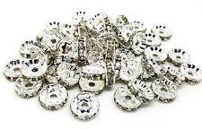 50 x 10mm Silver Grade A Brass Rhinestone Rondelle Spacer Beads