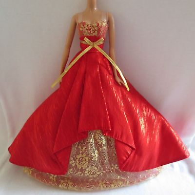 Barbie Red Gold Evening Gown Model Muse Holiday Dress