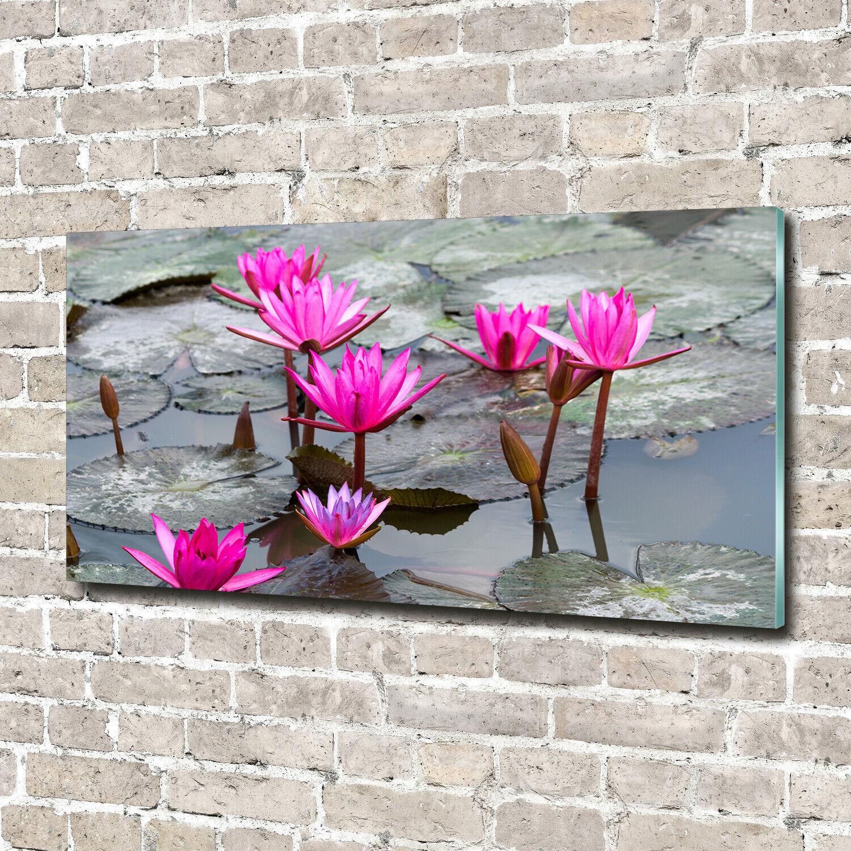 Acrylglas-Bild Wandbilder Druck 140x70 Deko Blaumen & Pflanzen LotusBlaume