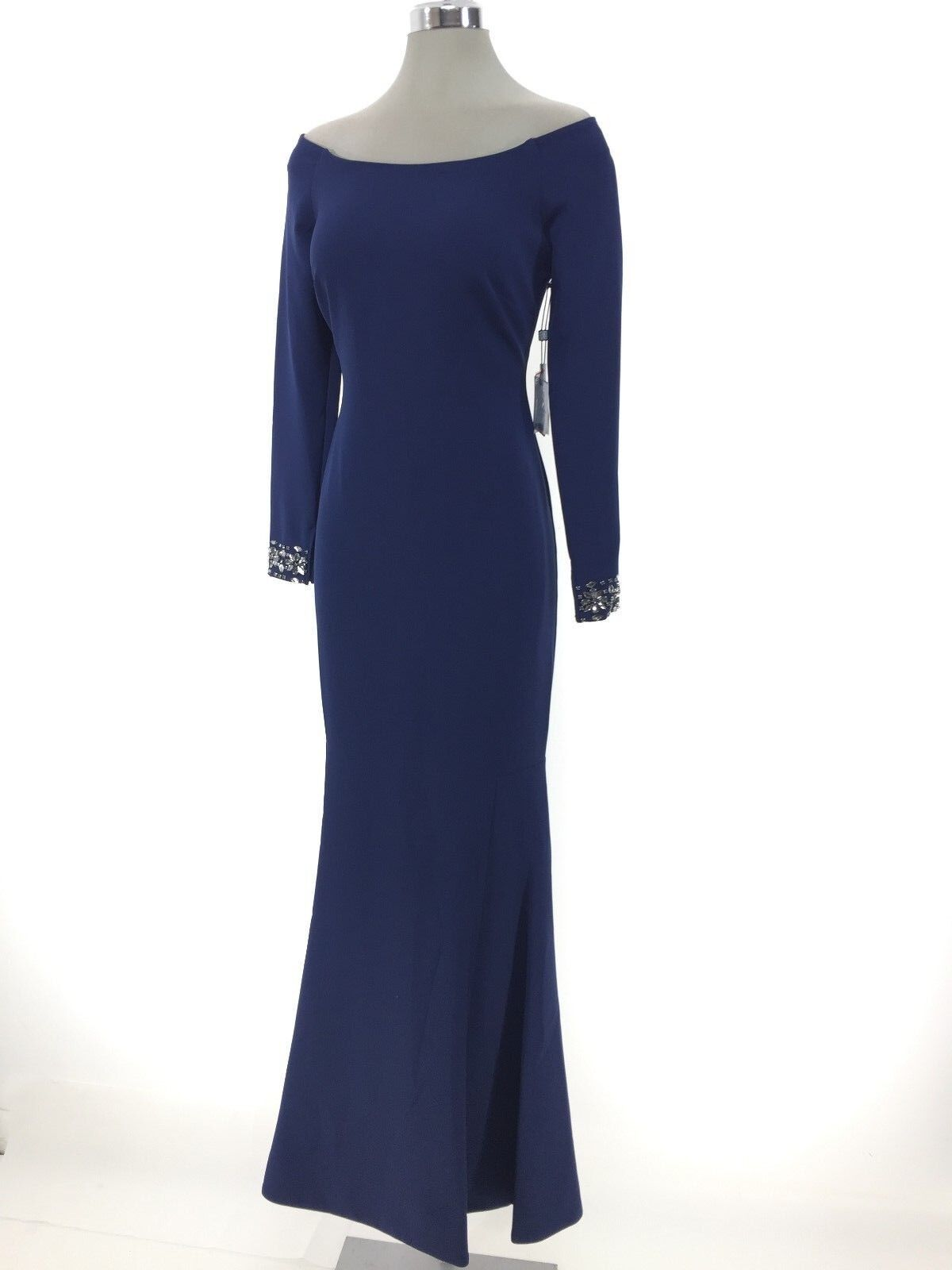 Laundry by Shelli Segal NWT Midnight Navy Formal Dress OFF Shoulder size 2, 4