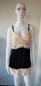 DOLCE-GABBANA-D-amp-G-Woman-039-s-Black-with-Peach-silk-dress-size-42-Eur-US-Small