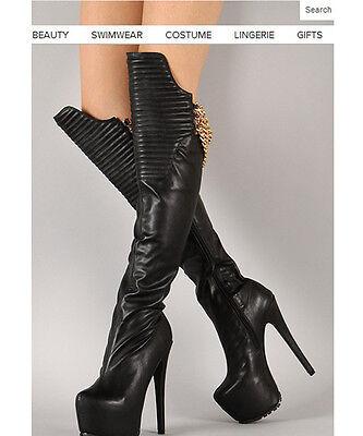 over knee boot womens shoes super high heel shoes platform metal chain nightclub