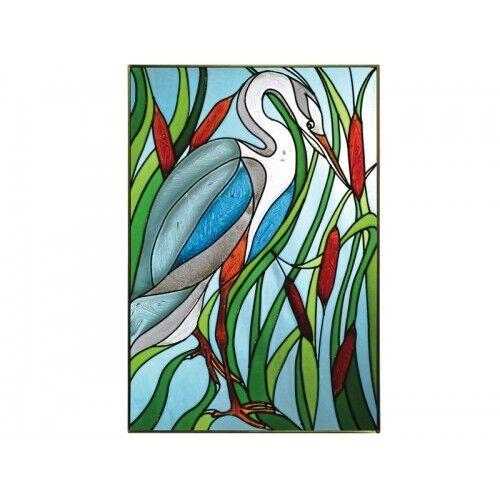 "Blue Heron Bird Art Glass Window Panel Suncatcher 14/"" x 20.5/""/"" Nautical Decor"