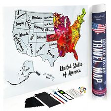 United States USA Travel Scratch off Map 12x18 Watercolor W ...