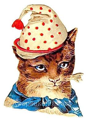 Clown Cat Vintage Die Cut Quilt Block Multi Size FrEE ShiPPinG WoRld WiDE
