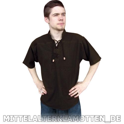 KURZARM Mittelalter Sommer Biker Schnür Hemd kurzärmelig Mittelalterhemd S-XXXL