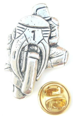 Leaning Motor Bike Handcrafted from English Pewter in the UK Lapel Pin Badge