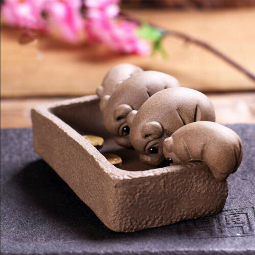 1pc YiXing Handmade Tea Pet Purple Clay Four only pig Drink water Tea Decoration