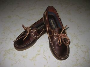 f55a8869ac0 Woman s Timberland Brown Leather Boat Shoe Loafers w Leather Laces ...