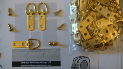 500 HEAVY DUTY BRASS 2 HOLE TRIANGLE D RING PICTURE HANGERS 1000 BRASS #6 SCREWS