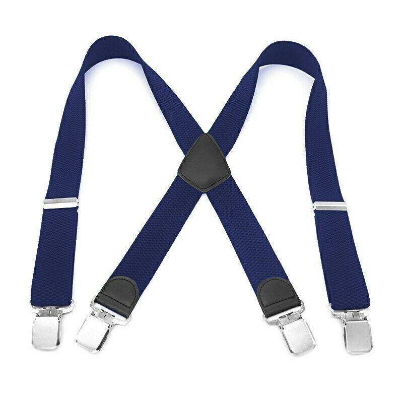 Mens 40mm High Elasticity Braces Fashion Trousers Suspenders - Navy