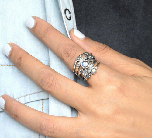 925 Sterling Silver Butterfly Flower Ring Labradorite Stone Wide Band Size 8 9