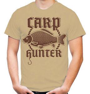 Carp-Hunter-T-Shirt-Angler-Karpfen-Angeln-Fishing-Fischen-M4-Sand