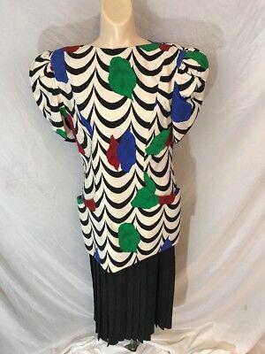 Aggressiv Vtg 1980s Jahre Damen Raul Blanco Seide Anzug Formelle Kleidung Mehrfarbig Sz 6 Aromatischer Geschmack
