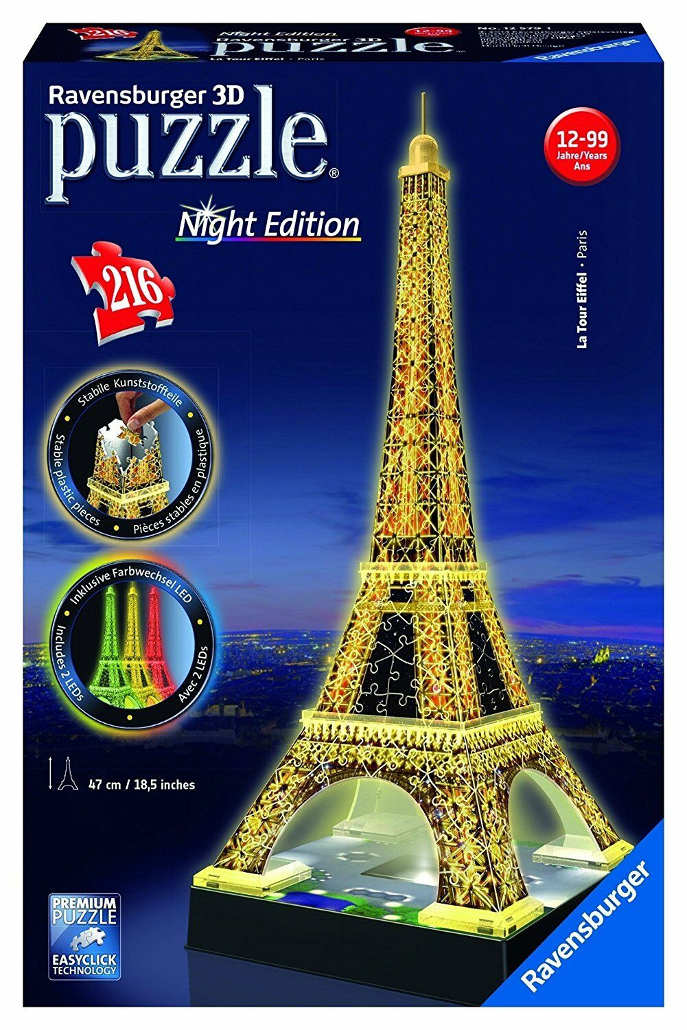 RAVENSBURGER EIFFEL TOWER NIGHT EDITION 3D PUZZLE 216PC - NEW & SEALED