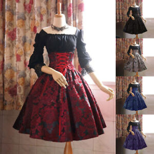 Medieval-Renaissance-Women-Lace-up-Dress-Lolita-Party-Palace-Cosplay-Costume