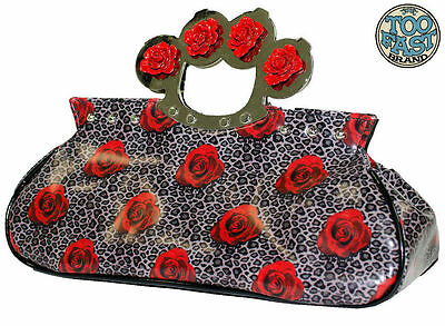 TOO FAST ROSES AND LEOPARD KNUCKLES PURSE BAG (R10C)