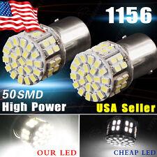 2x Super White 1156 BA15S 50-SMD RV Turn Signal Backup Reverse LED Light Bulbs