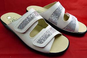 Nappino Silver 41 Damen Weiß Pantolette Leder Neu Algemare Gr wHRq7Xx