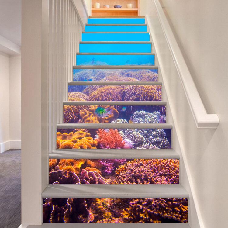 3D Meeresboden 664 Stair Risers Dekoration Fototapete Vinyl Aufkleber Tapete DE