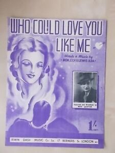 Actif Vintage Sheet Music-who Could Love You Like Me-roy Lester-afficher Le Titre D'origine