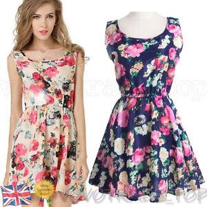 Summer-Womens-Mini-Dress-Fashion-Ladies-Sexy-Sleeveless-A-Line-Floral-Sun-Dress