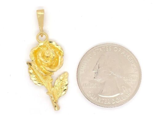 10k Yellow Gold Solid 3D Diamond Cut Rose Flower Charm Pendant 3.2 grams