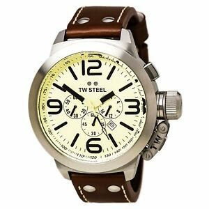 TW-Steel-Men-039-s-Watch-Canteen-Chronograph-Cream-Dial-Black-Leather-Strap-TW3