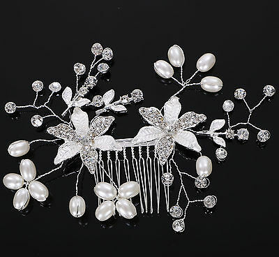 Pearls Rhinestones Bridal Wedding Hairpiece with Flowers Side Comb
