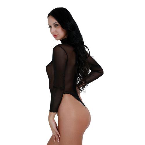 Women Mesh Sheer Bodystocking Leotard Bodysuit Romper Jumpsuit Clubwear Lingerie