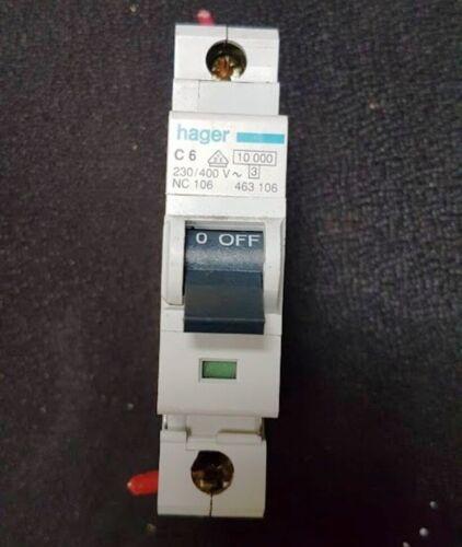 HAGER DISJONCTEUR 6 amp Simple Pôle Disjoncteur Fusible voyage Type C 6 A C6 463106 NC106