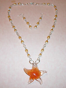 HAND-MADE-ORANGE-GLASS-PEARL-CRYSTAL-NECKLACE-W-GLASS-STARFISH-PENDANT-EARRINGS