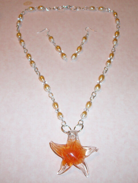 HAND MADE ORANGE GLASS PEARL/CRYSTAL NECKLACE W/GLASS STARFISH PENDANT-EARRINGS