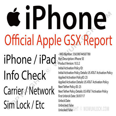 Apple Official iPhone IMEI Network Carrier Check & SIM Lock Status (GSX  Report) | eBay