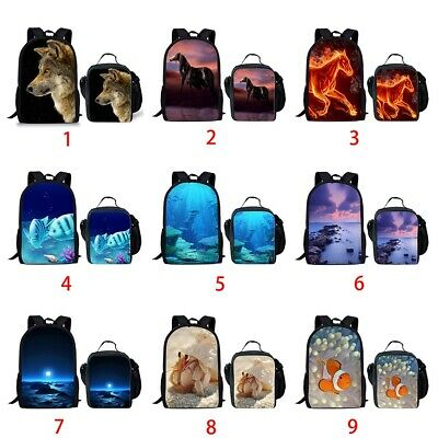 Backpack Canvas School Bag Galaxy Wolf Horse Travel Shoulder Schoolbag Women Kid