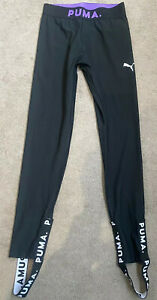 Puma-Rib-Leggings-Stirrups-High-Rise-Black-Sports-Nike-Style-Active-Gym-Wear-SzS