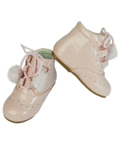 Baby Flower Girls Spanish Patent First Walking Formal Pink Booties for Infants
