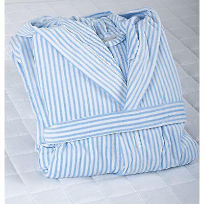 Blue Stripe Robe in Luxury 100/% Cotton Velour Luxury Hooded