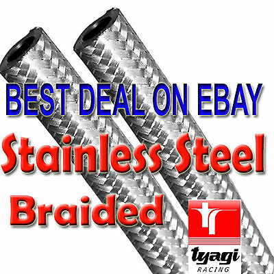 10mm STAINLESS STEEL BRAIDED FUEL LINE Petrol HOSE NITRILE RUBBER PIPE OD 14.5mm