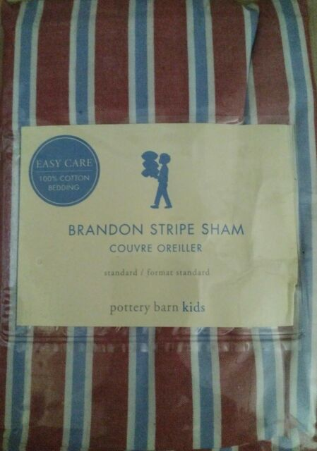 New Pottery Barn Kids Brandon Stripe Red Sham Pillowcase
