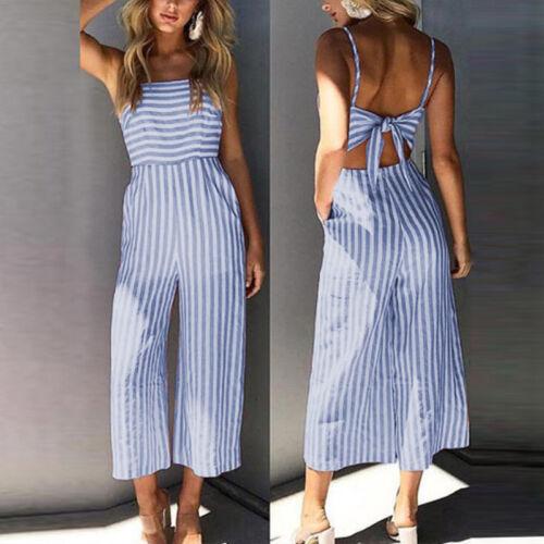 Women High Waist Summer Sleeveless Romper Wide Leg Pants Trousers Party Jumpsuit