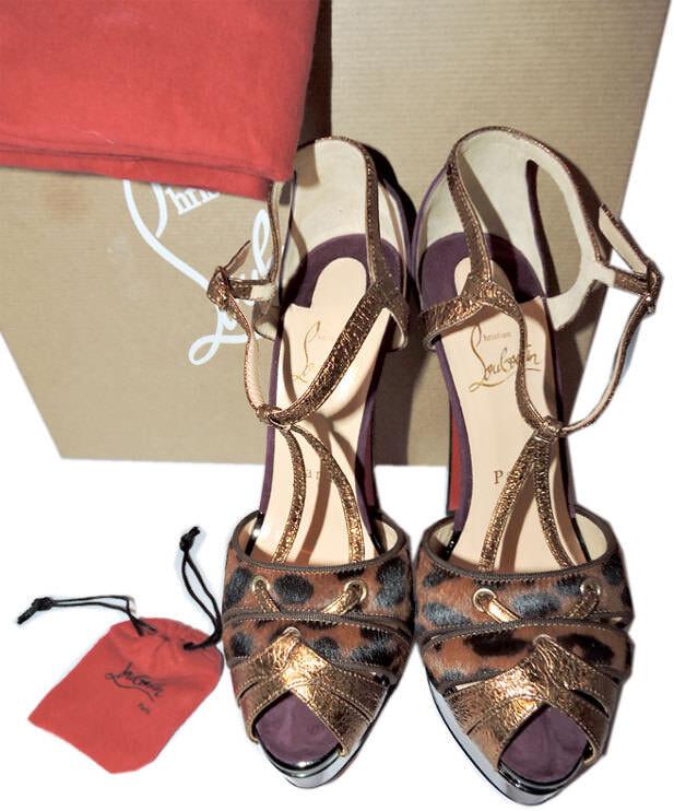 CHRISTIAN LOUBOUTIN LOUBOUTIN LOUBOUTIN Glennalta Genuine Calf Hair Platform Sandal Pump shoes 37 ebb04c